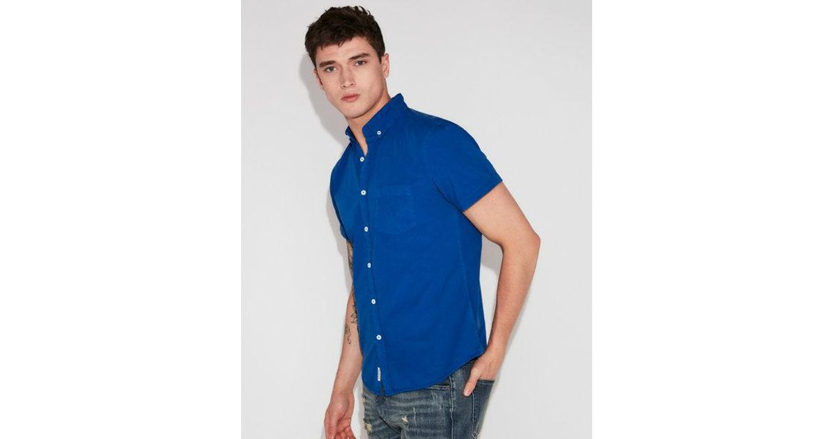 0f85dc1f08cf9 Lyst - Express Slim Garment Dyed Button-down Short Sleeve Shirt in Blue for  Men