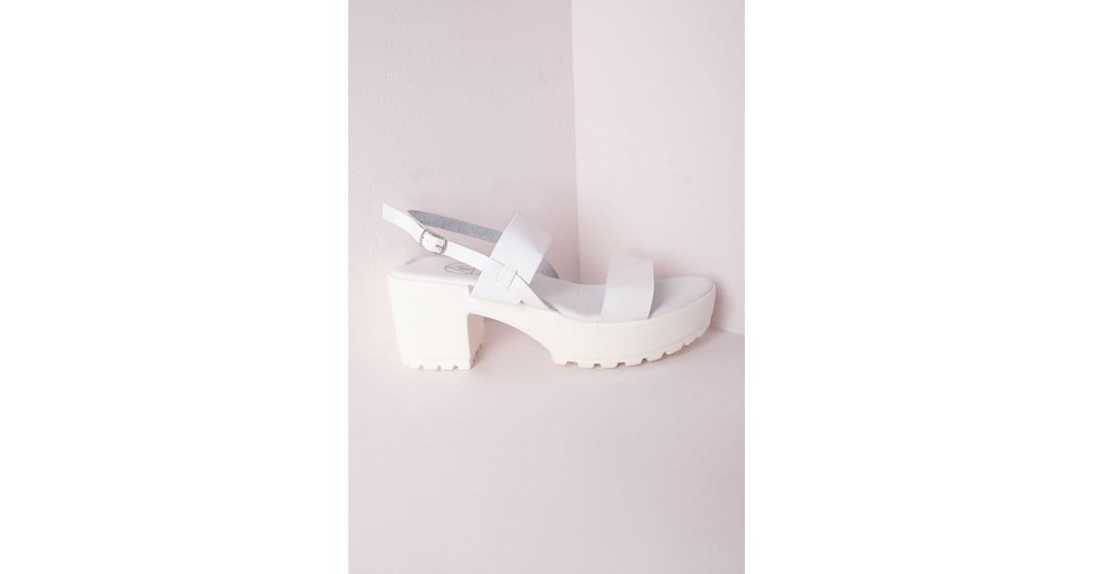 a60aa0a12a7bdb Lyst - Missguided Chunky Cleated Strappy Sandals in White