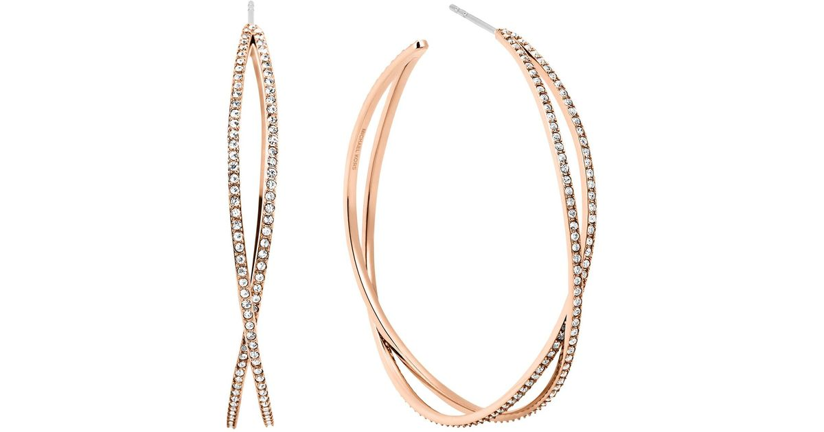 efbc955d2955c3 Michael Kors Pave Criss Cross Hoop Earrings in Pink - Lyst