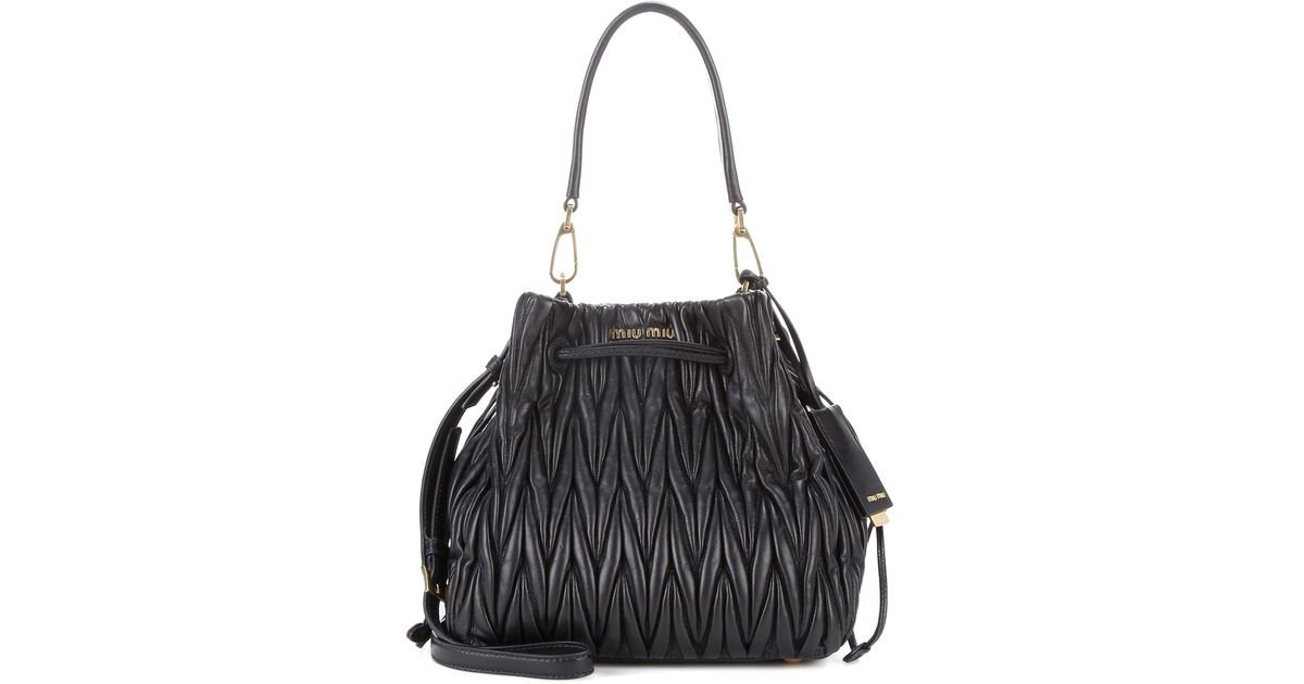 Lyst - Miu Miu Matelassé Leather Bucket Bag in Black f13fb426ddf6