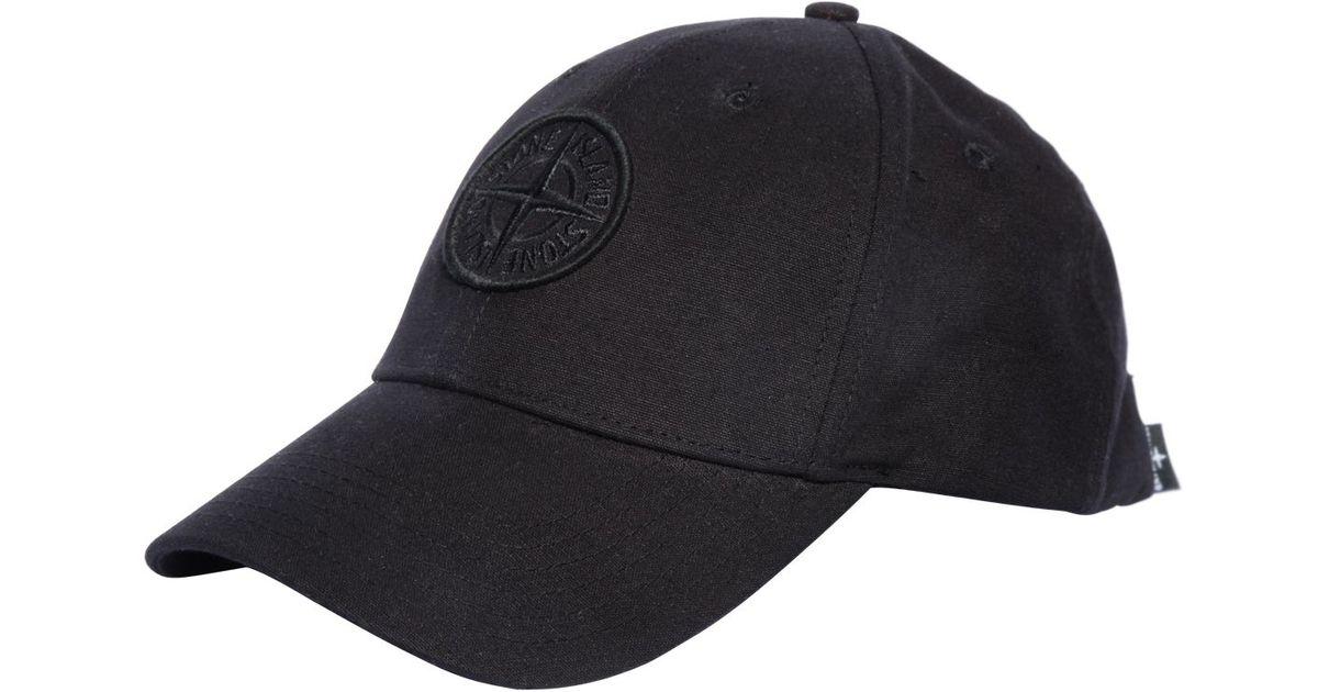 c4b3aec6e59 Lyst - Stone Island Logo Embroidered Baseball Hat in Black for Men