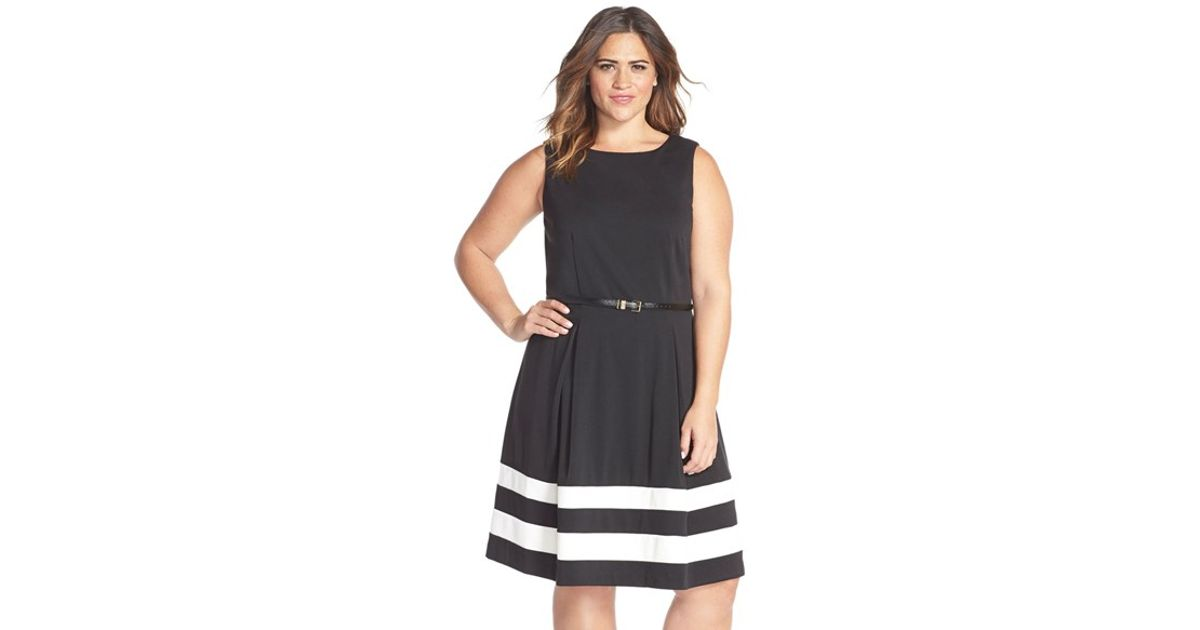 9e297323935f Lyst - Calvin Klein Colorblock Belted Fit   Flare Dress in Black