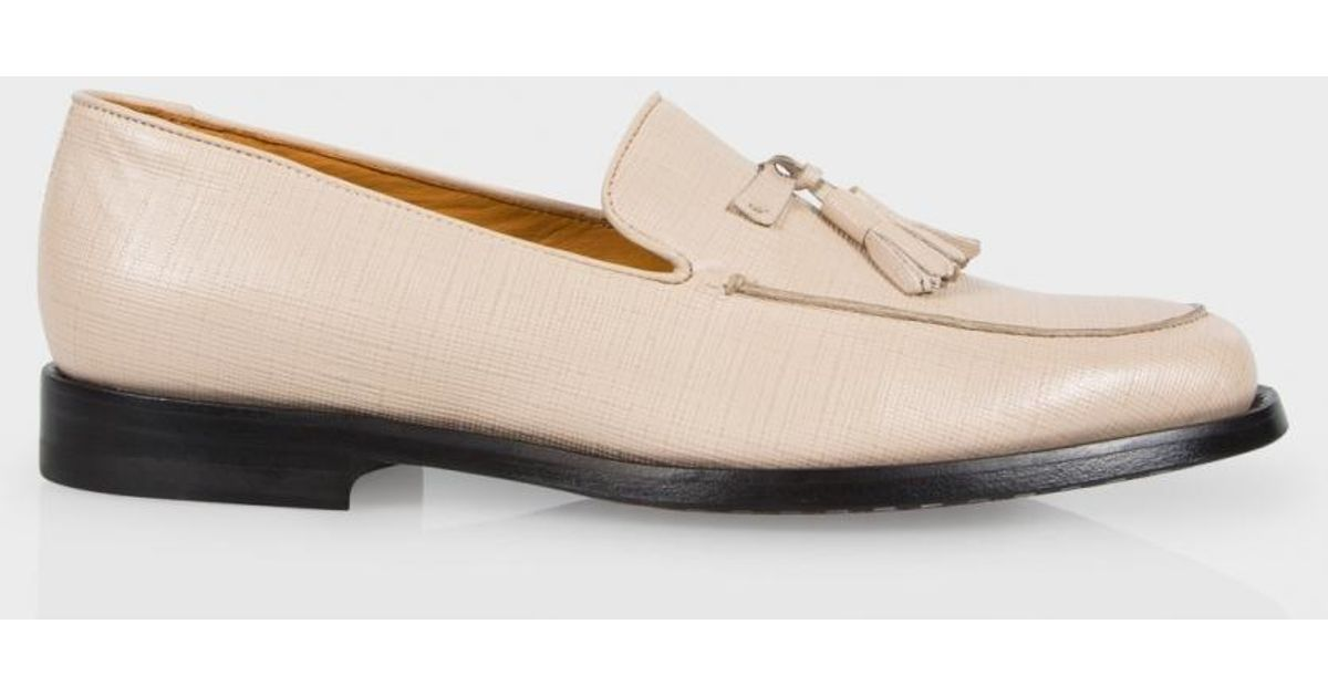 334143d8ecb Lyst - Paul Smith Stevenson Saffiano-Leather Loafers in Natural