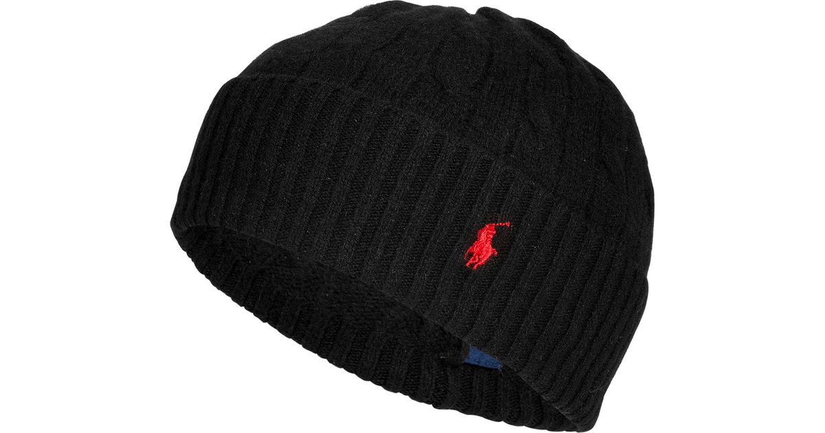 2a6966c2c75 Lyst - Polo Ralph Lauren Merino Wool-cashmere Cable Knit Hat in Black for  Men