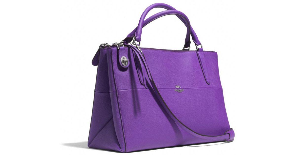 lyst coach the borough bag in saffiano leather in purple rh lyst com