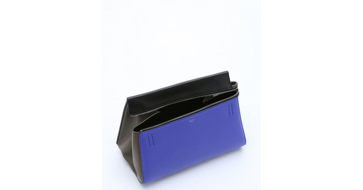 C¨¦line Pre-Owned: Indigo Colorblock Calfskin Top Handle Bag in ...