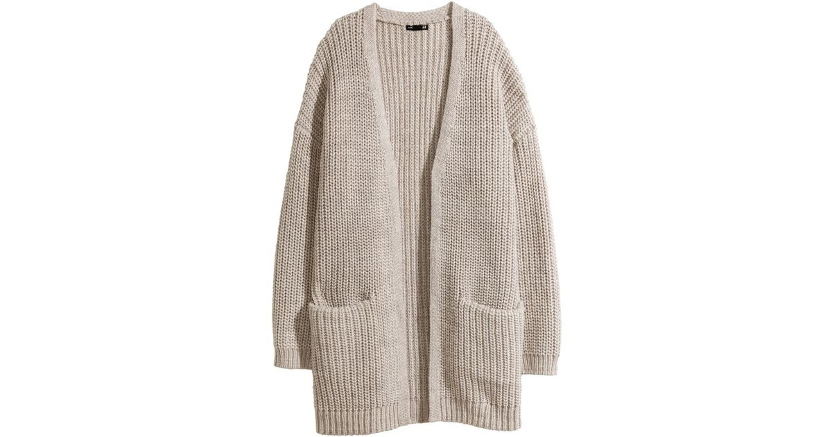 28e36987ca0d H M Rib-knit Cardigan in Natural - Lyst