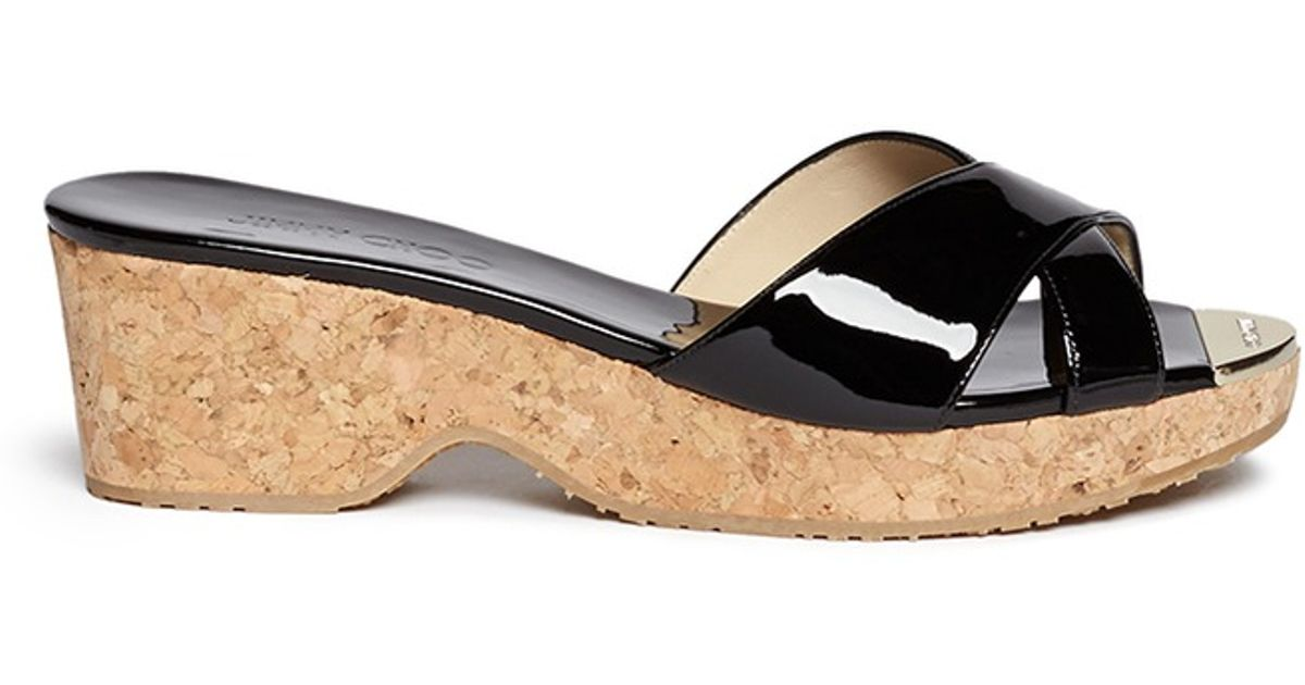 6ace773dbf5 Lyst - Jimmy Choo  panna  Cork Wedge Patent Leather Sandals in Black