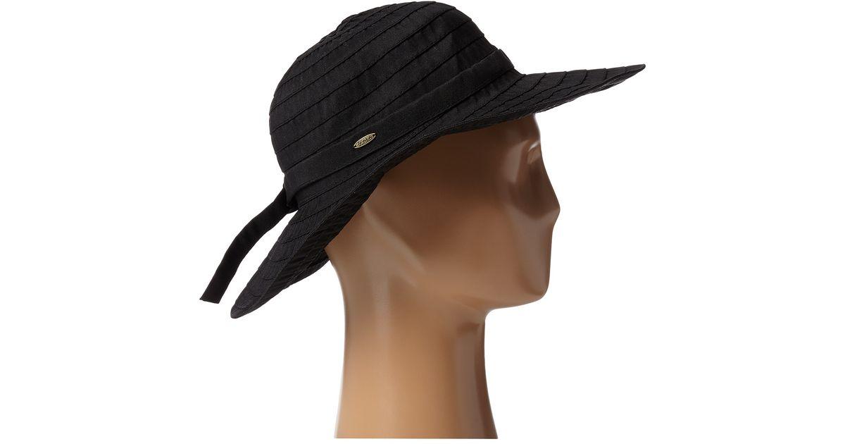 a56eb156d Scala - Black Crushable Big Brim Ribbon Sun Hat - Lyst
