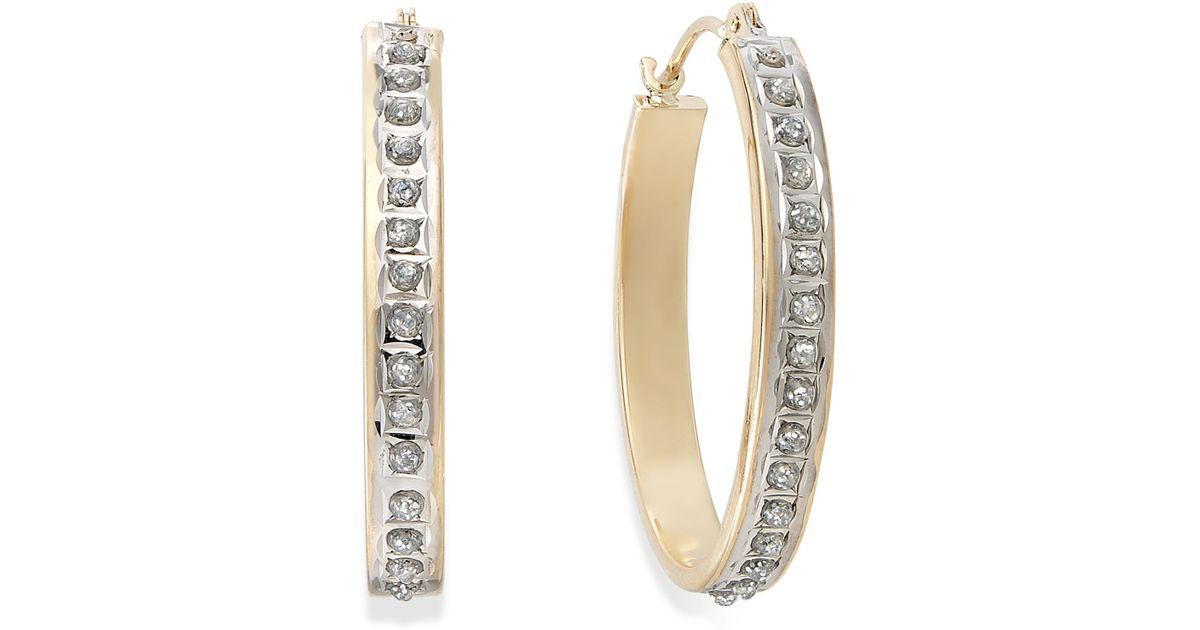 Diamond Oval Hoop Earrings White Gold