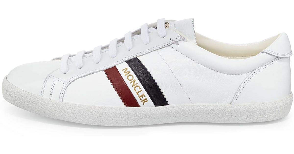 Lyst - Moncler Monaco Striped-Leather Sneakers in White for Men 5ffc2c0677e