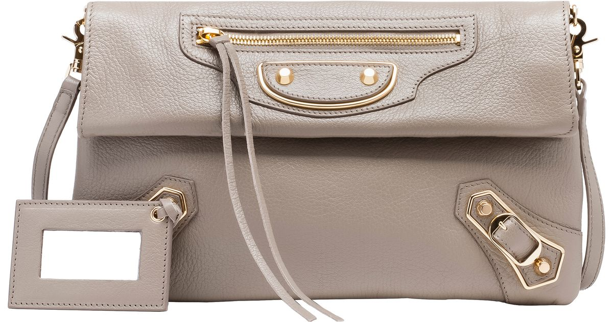 f96db75e61 Balenciaga Classic Envelope Metallic-Edge Clutch in Brown - Lyst