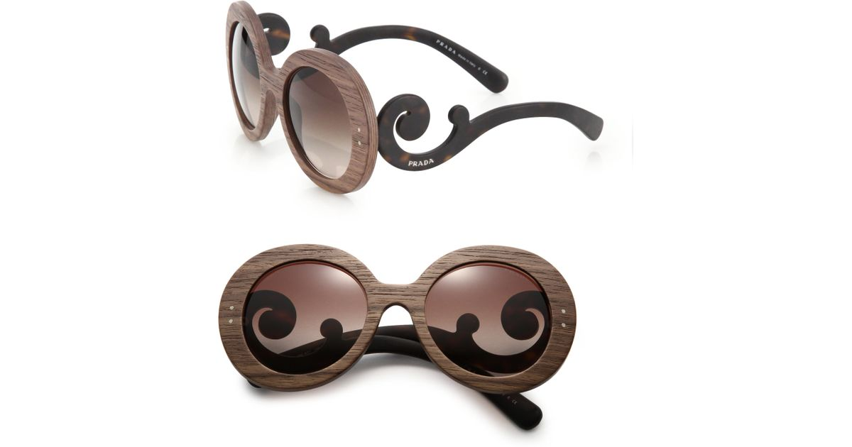 40bf4a128a0b Prada Wooden 55mm Round Sunglasses in Brown - Lyst