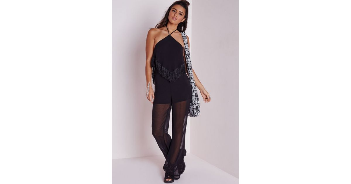 d6a7ff2b3a0 Lyst - Missguided Fringe Wide Leg Jumpsuit Black in Black