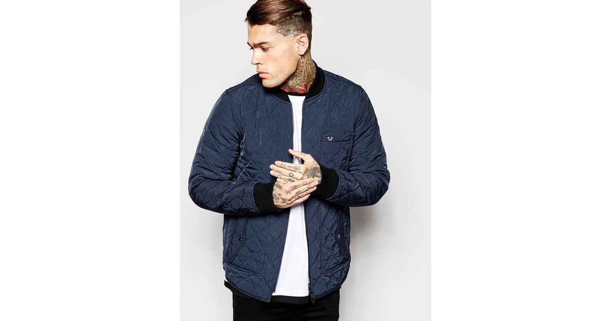 True religion Reversible Bomber Jacket Quilted And Denim in Blue