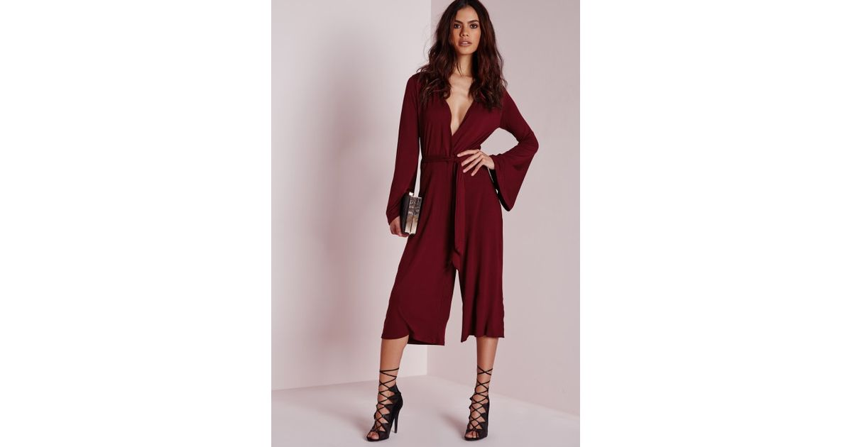 73fdc01a17 Lyst - Missguided Jersey Wrap Belt Culotte Jumpsuit Burgundy in Purple