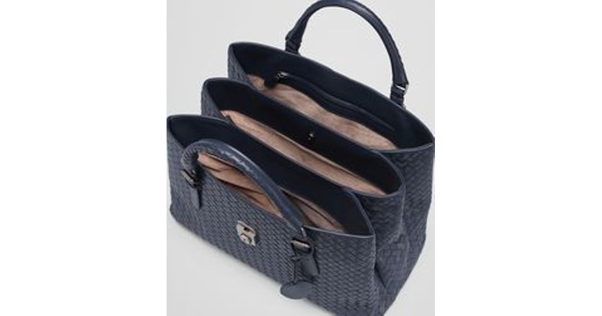 Bottega Veneta Medium Roma Bag In Prusse Intrecciato Calf in Blue - Lyst 617b7252b3a2a