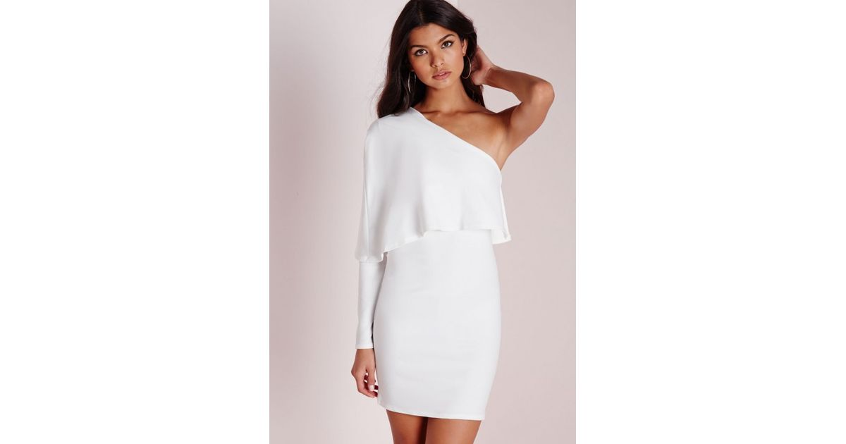 0ec177624dc0 Missguided Crepe One Shoulder Cape Dress White in White - Lyst
