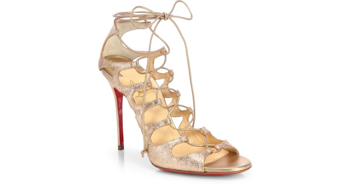 christian louboutin beverly metallic leather strappy sandals