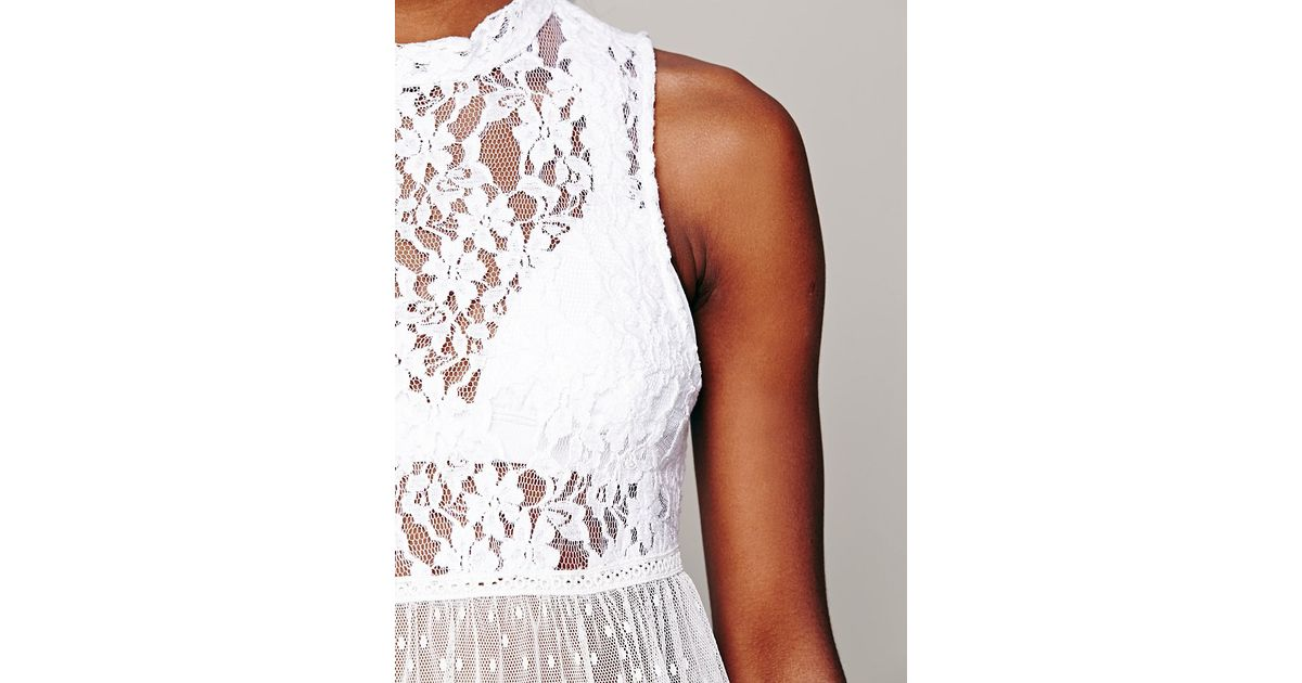 aa67008ad0df2e Lyst - Free People Lady Bird Lace Tank in White