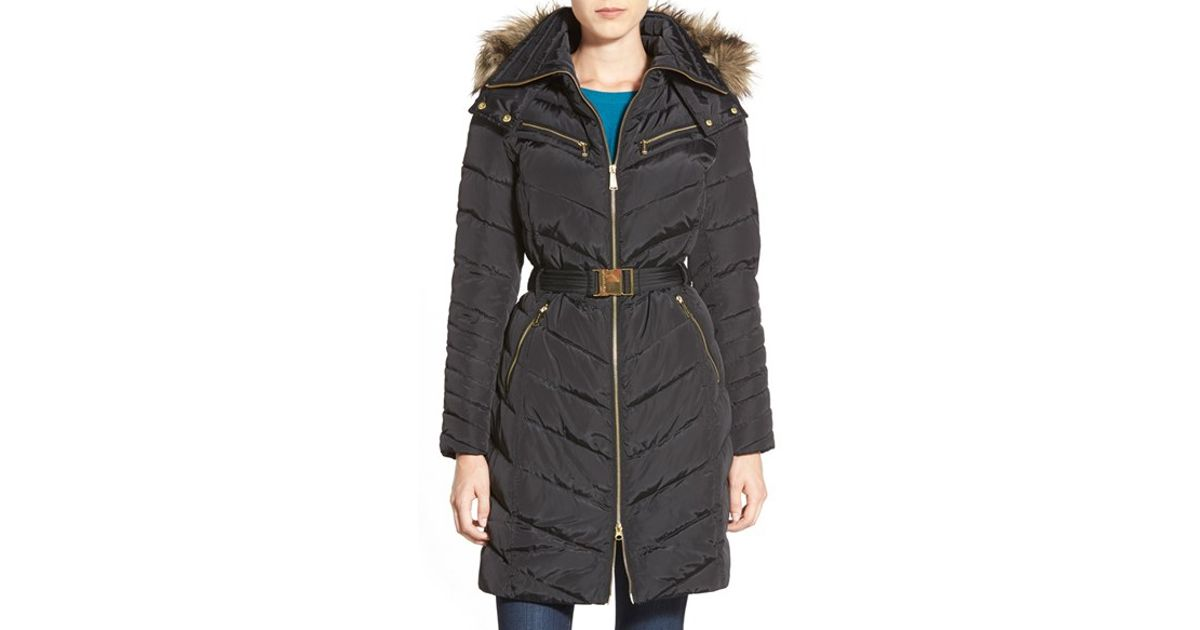 460ebf810 MICHAEL Michael Kors - Black Faux Fur Trim Belted Long Down & Feather Fill  Coat - Lyst