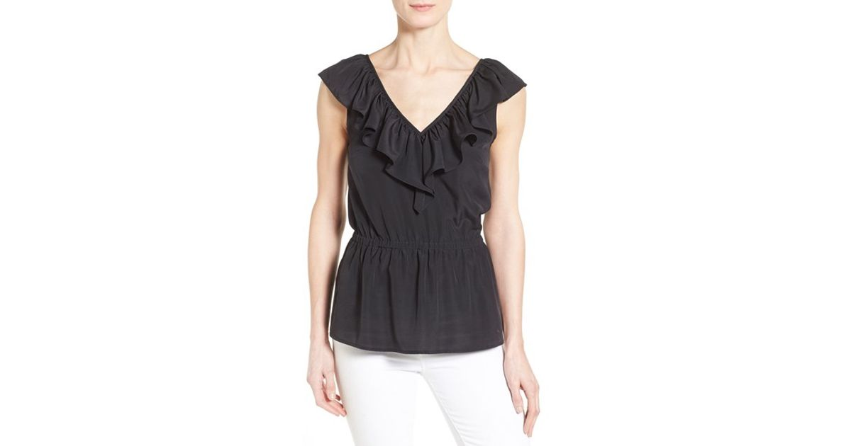 9c52797b8fd MICHAEL Michael Kors Sleeveless Ruffle V-neck Top in Black - Lyst