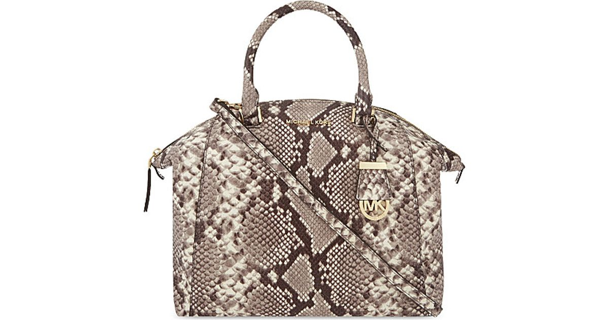 a773aa8c52cb MICHAEL Michael Kors Riley Large Snake Print Leather Satchel in Black - Lyst