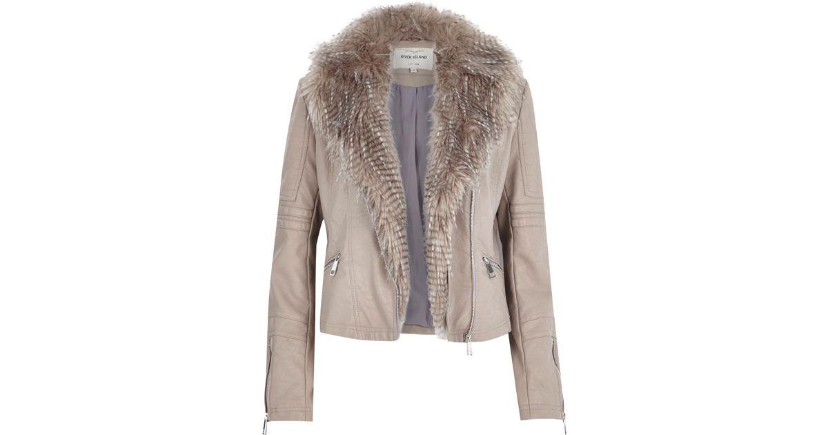 River Island Beige Faux Leather Jacket