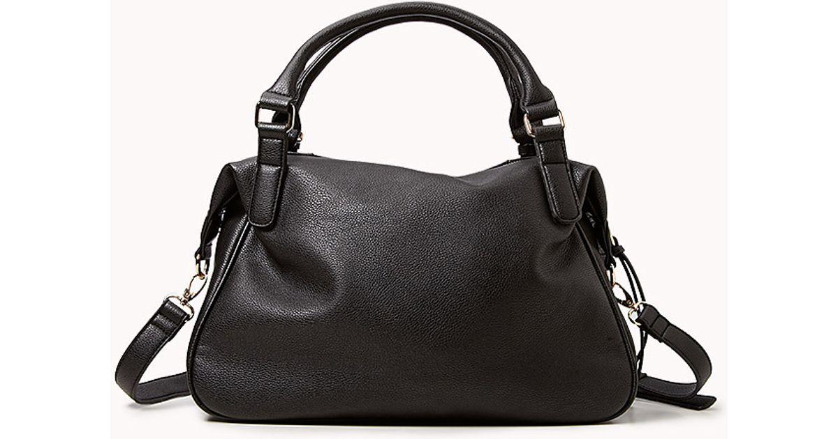 Lyst - Forever 21 Faux Leather Bowler Bag in Black 788af789d919f