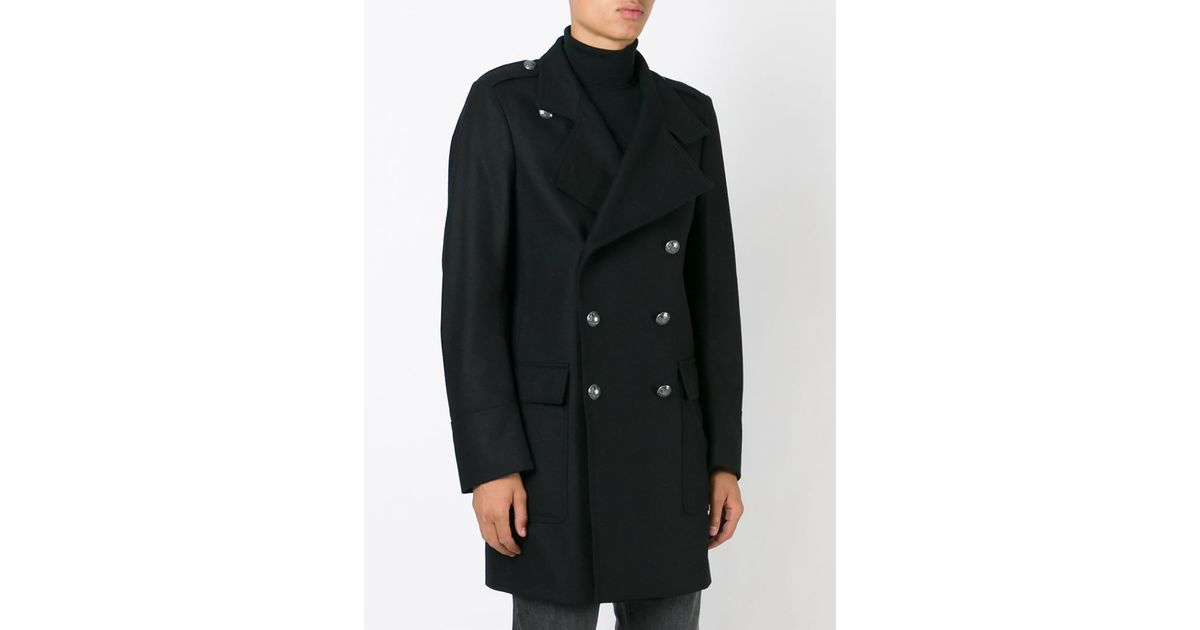 Diesel black gold Double Breasted Military Coat in Black for Men