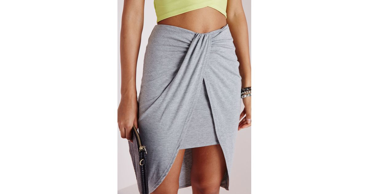missguided wrap jersey midi skirt grey marl in gray lyst