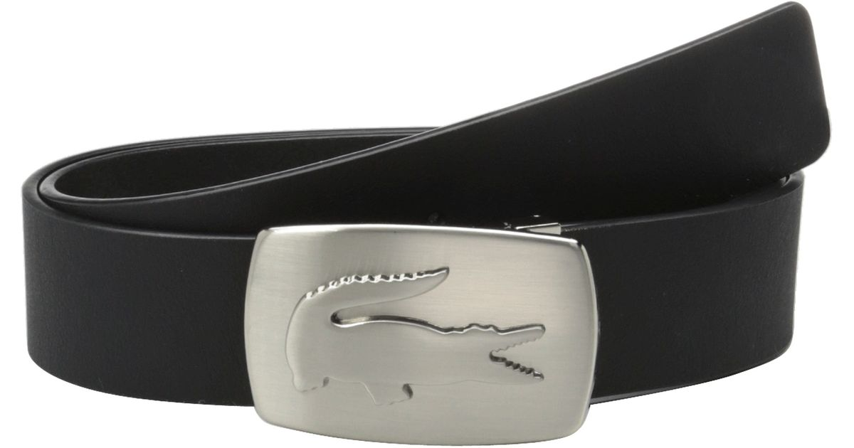be79e297d Lyst - Lacoste Spw Leather Belt Metal Croc Buckle Plate in Black for Men