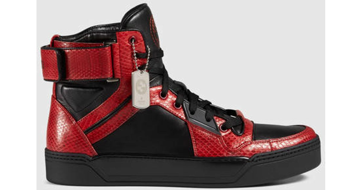 Gucci Red Snakeskin High,top Sneaker for men