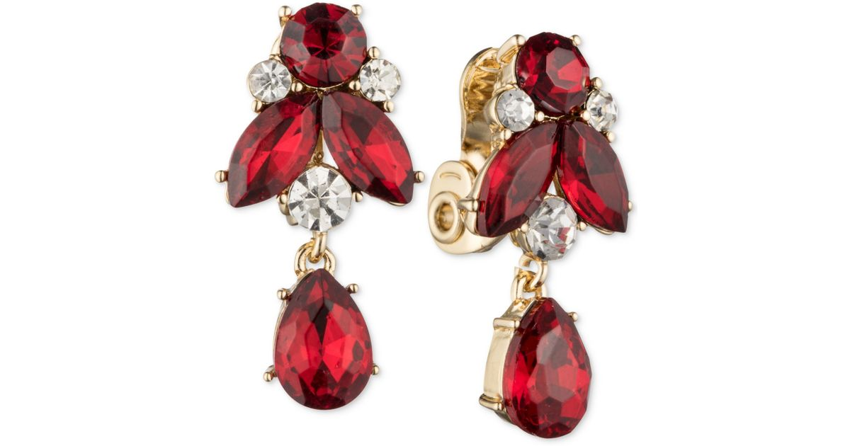 swarovski gold pave red earring rock crystal plated earrings crystals metal