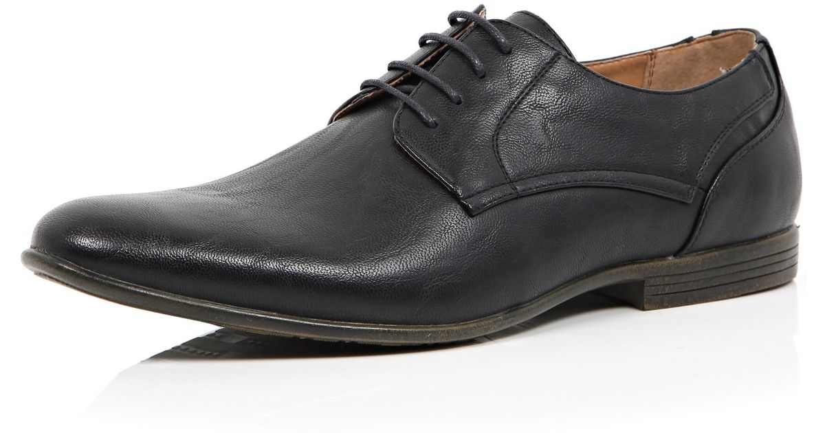 river island black stitch detail formal shoes in