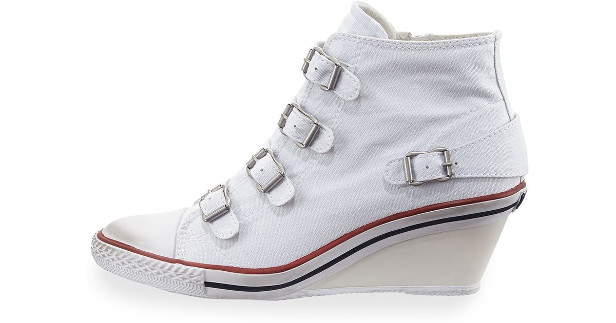 54a199966b7 Lyst - Ash Genialbis Buckled Wedge Sneaker in White