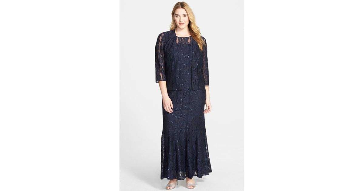 Lyst - Alex Evenings Sequin Lace Gown & Jacket in Blue