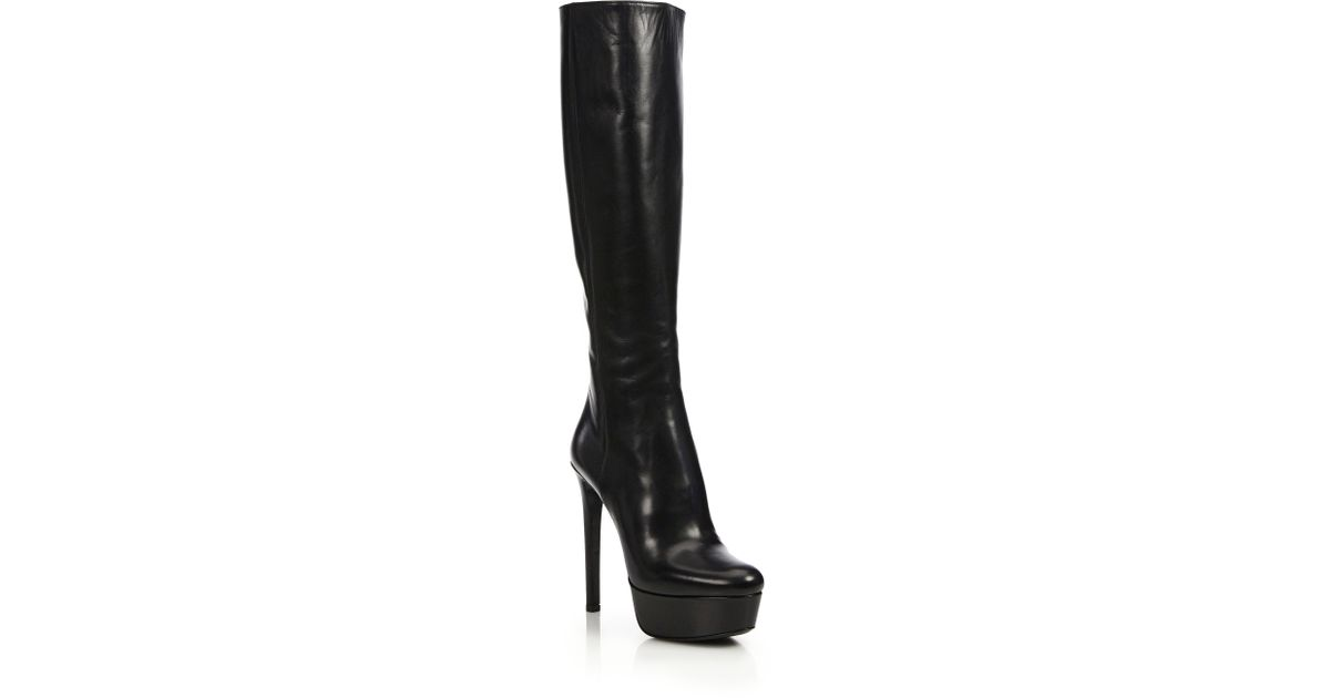 092f656c0 Prada Leather Knee-high Platform Boots in Black - Lyst