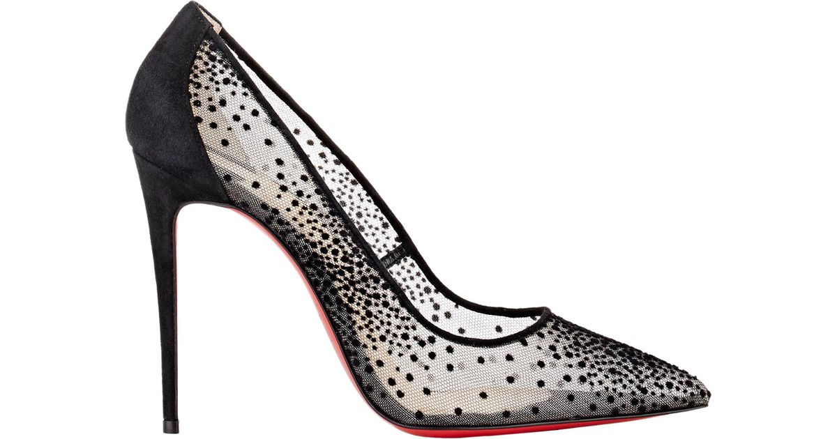 575a5f204409 Lyst - Christian Louboutin Follies Lace and Chiffon Pumps in Black