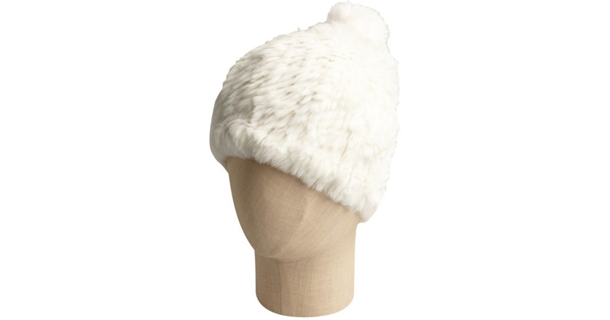Lyst - Adrienne Landau Ivory Rabbit And Fox Fur Pom Pom Hat in White 4f698bb22e2b