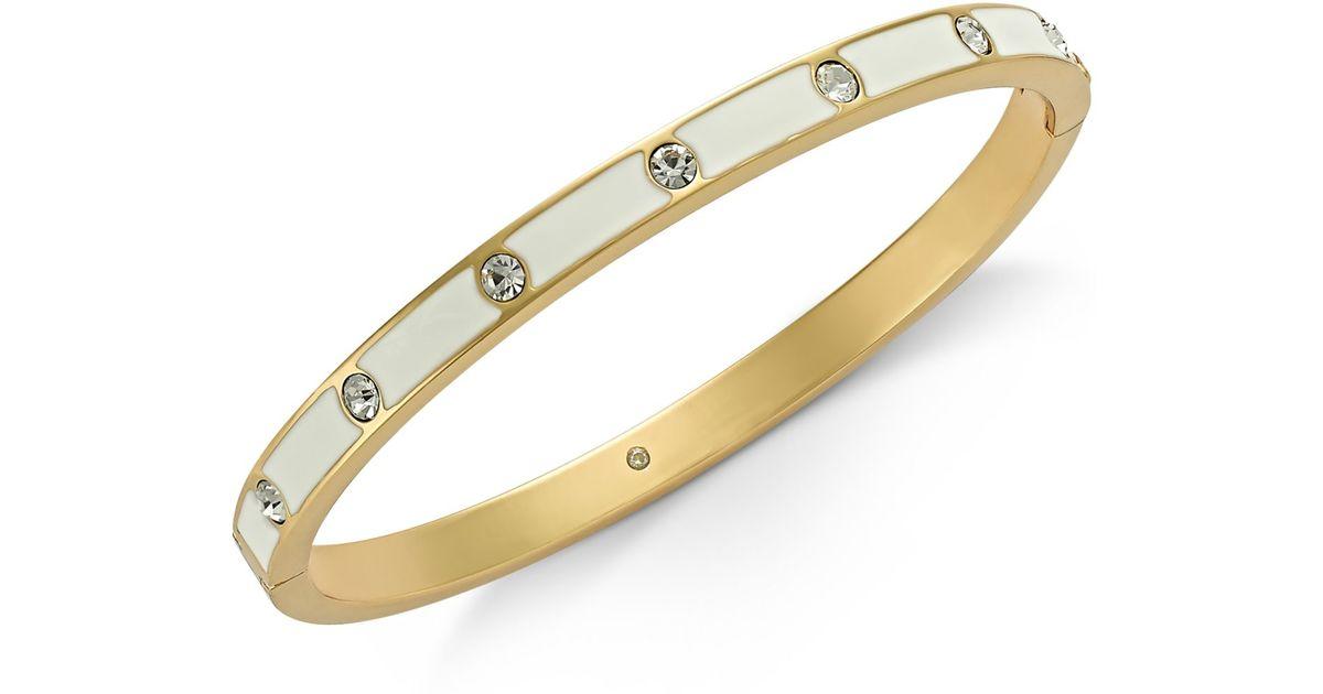 Kate Spade Gold Tone Crystal Enamel Hinged Bangle Bracelet