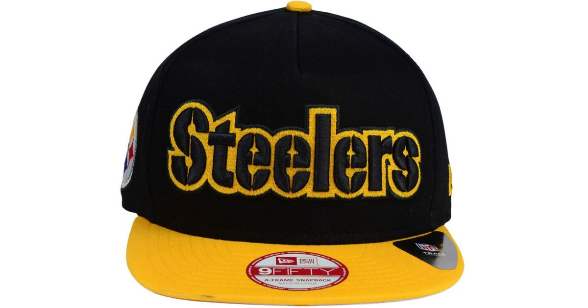fa47813a57185 KTZ Pittsburgh Steelers Flip Up Redux 9Fifty Snapback Cap in Black for Men  - Lyst