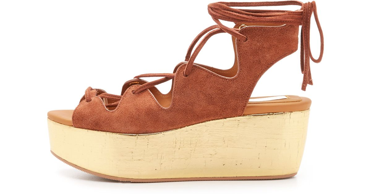 a9b4beeb3e5 Lyst - See By Chloé Liana Platform Lace Up Sandals in Brown