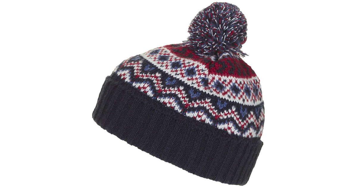 Lyst - Topshop Fairisle Beanie Hat in Blue