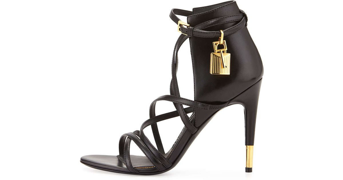 ba00217c803 Lyst - Tom Ford Leather Ankle-Wrap Padlock Sandals in Metallic