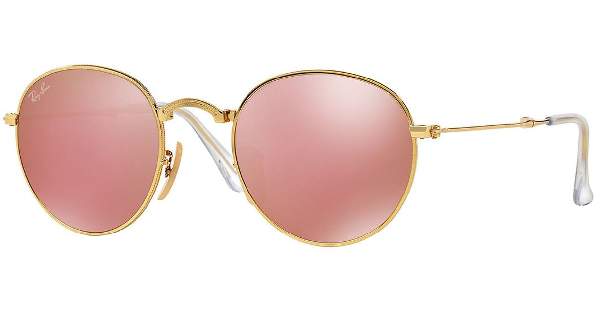 Ray ban men 39 s etched round mirrored sunglasses in pink lyst for Miroir rose gold
