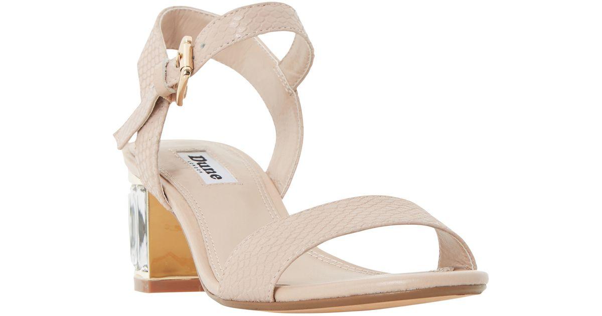 a7b0786259d Dune Marcia Jewelled Block Heel Sandals in Natural - Lyst