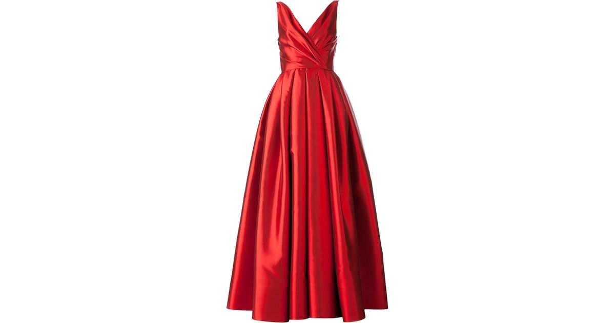 Lyst - Reem Acra Flared Evening Gown in Red