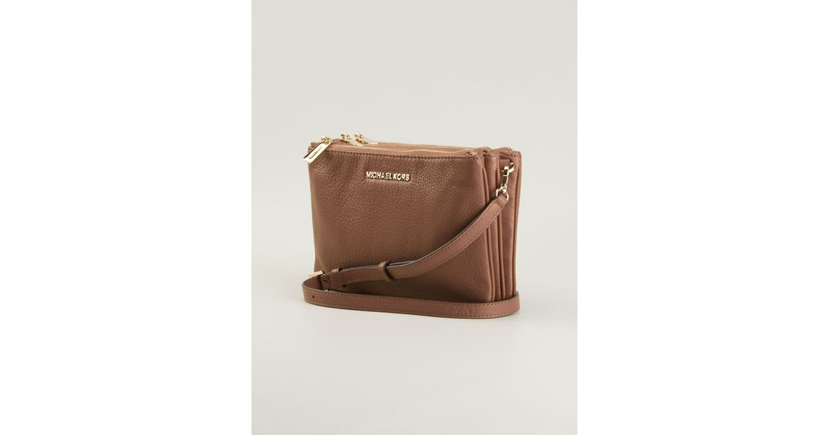 4bebf1e39bbfd5 ... usa lyst michael michael kors bedford gusset crossbody bag in brown  7d548 ca8bd