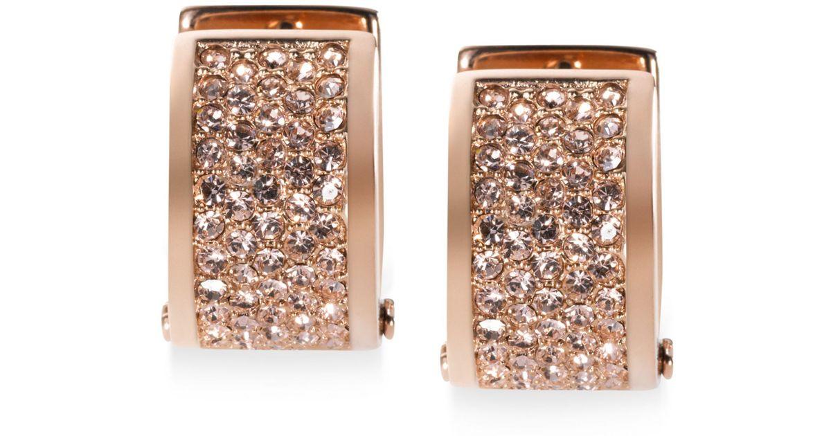 0da38f11f835 Lyst - Michael Kors Rose Gold-Tone Pave Huggie Hoop Earrings in Metallic